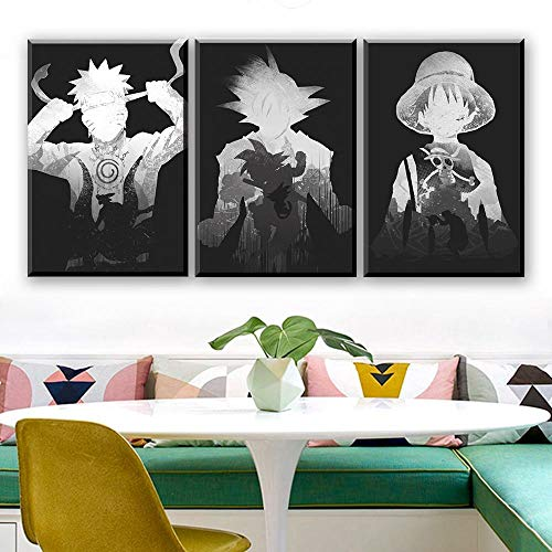 FGDH&SDF Art on Canvas Print 3 Piezas Cuadros de Dibujos Animados Pinturas en Blanco y Negro Dragon Ball One Piece Anime Poster Pinturas de Pared, sin Marco, 50X70Cm * 3
