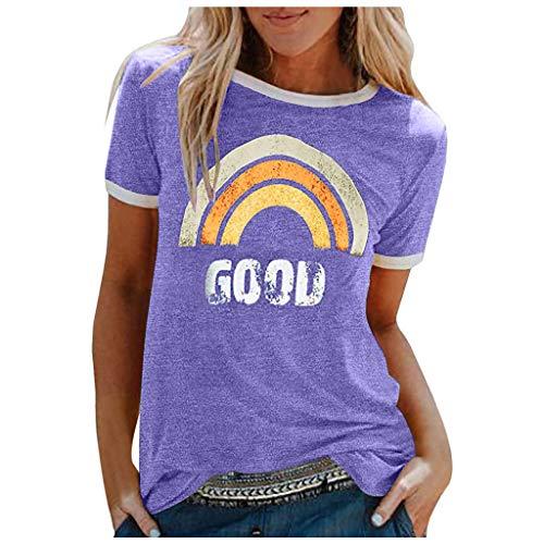 Camiseta de verano para mujer, monocolor, parte superior de arco iris, manga corta, informal, cuello redondo, camisa para mujer, adolescente y niña morado S