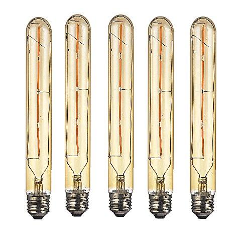 Preisvergleich Produktbild OUGEER 5er Edison Vintage Röhrenlampe E27 4W T30-225 Reagenzglas Flöte Glühlampe Rohr, AC 220-240V, E27 T30 LED Filament Glühbirne Warmweiß(2300K)