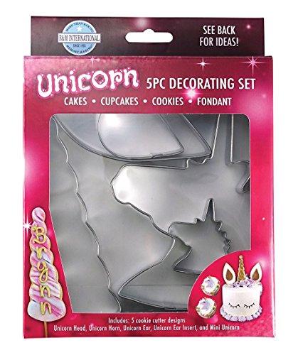 R&M International Unicorn Cake Decorating Cookie Cutter Kit, Head, Horn, Ear, Insert, and Mini, 5-Piece Set
