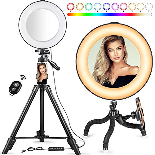Selfie Ring Light - 14 Colors RGB Ring Light with 2 Adjustable Tripod Stand/Phone Holder/Camera Remote Shutter Best 10 Brightness Levels Dimmable LED Ring Light for Makeup,YouTube, Photography