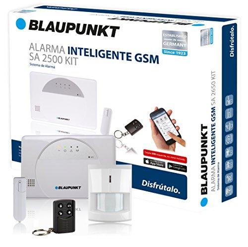 Kit de Alarma inteligente Blaupunkt SA 2500. SIN Cuotas Mensuales, transmisión vía GSM, 100% inalámbrica, fácil de instalar, para tu hogar o negocio. Controla tu alarma desde tu Smartphone con la App Gratuita Connect2Home de Bl