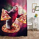 """MitoVilla Sloth in Galaxy Space Shower Curtain for Bathroom Decor, Funny Cartoon Animal with Pizza Bathroom Accessories, Sloth Gifts for Women, Men, Teens, Kids Grils and Boys, Purple, 72"""" W x 72"""" L"""