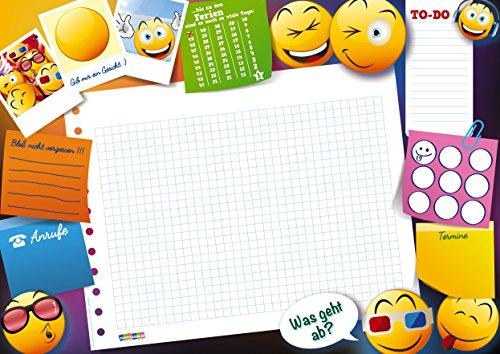 Partycards lustige DIN A3 Schreibtischunterlage für Kinder, Jungs und Mädchen als Block mit 25 Blatt zum Abreißen (Emoji und Smiley, DIN A3 ca. 30 x 42 cm groß)