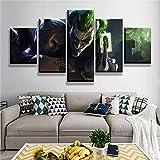 One Set 5 Paneles Comics Harley Quinn Joker Arte de la pared Pintura Imágenes Impresión de lienzo Póster Decoración del hogar Arte de la sala de estar (con marco)_150x80 cm