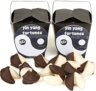 Yin & Yang Hand-Dipped Gourmet Fortune Cookies- Take Out Pail of 6