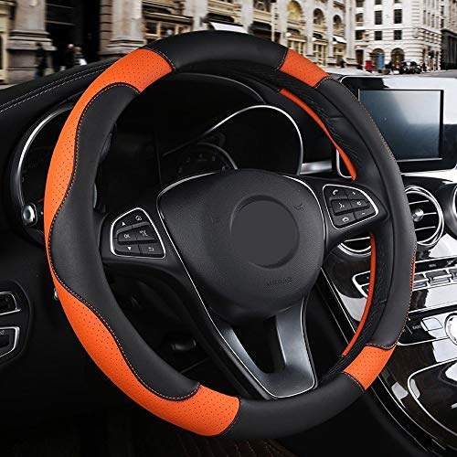 Auto Steering Wheel Cover Non-slip ademend PU Leren stuur Protector Universele Auto Interieur Accessoires (Color : Orange, Size : Free)