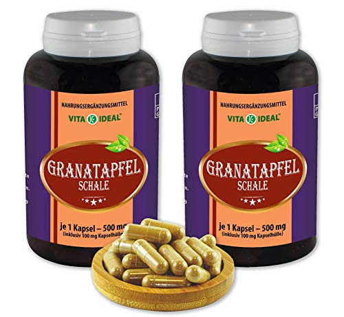 VITA IDEAL ® Granatapfel-Schale 2x360 Kapseln je 500mg, aus rein natürlichen Kräutern, ohne Zusatzstoffe