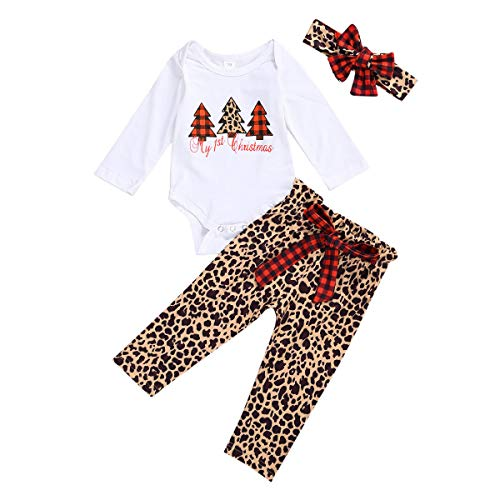Newborn Baby Girls Christmas Outfits My First Christmas Romper Top Plaid/Leopard Pants Pajamas Headband Set (White+Leopard, 0-3M)