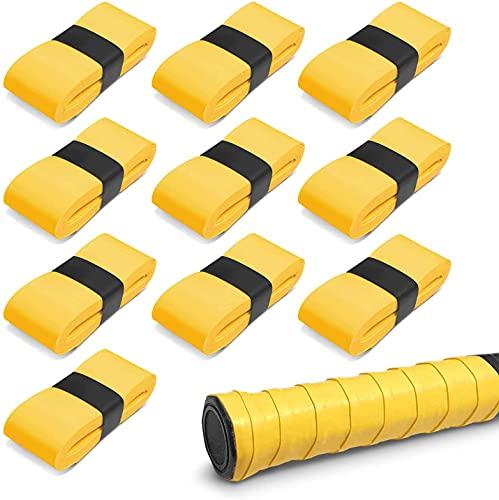 グリップテープ (10個セット) グリップ テープ 滑り止めテープ クリップテープ 吸汗性グリップテープ 「 ゴルフ テニス 釣り竿 自転車 野球 バドミントン などにご活用下さいませ」 オーバーグリップテープ 【ZEROSIX】 (イエロー)