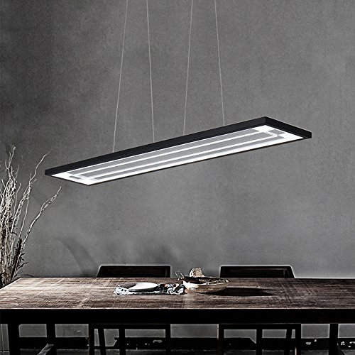 43 W LED Lampe suspension design moderne rectangulaire Flat Suspension Lampe suspension pour salon salle à manger table plafond éclairage plafonnier acrylique aluminium lampe Weiß Licht