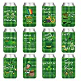 12 Pcs St. Patrick's Day Beer Can and Soda Can Coolers Sleeves Party Favors, Saint Patrick's Day Can Decoration Supplies, Neoprene Insulated Lid for 12 Ounce All Types of Can, Bottle, Drink