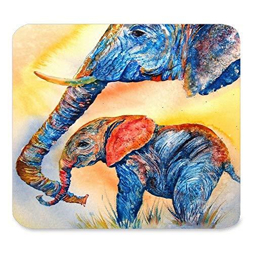 Rechteck-Mausunterlage verlängert, abstraktes Weinlese-Aquarell-afrikanische Elefant-Kunst-Malereien, Spiel-Rutschfeste Gummi-große Mousepad-Matte