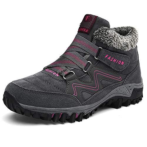 JIANKE Botas de Senderismo Nieve Hombre Mujer Zapatillas de Trekking Antideslizante Invierno Forro Piel Zapatos Gris 36 EU(Tamaño de la Etiqueta 36)