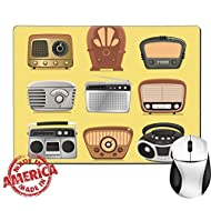 """Luxlady Natural Rubber Mouse Pad/Mat with Stitched Edges 9.8"""" x 7.9"""" Retro revival radios hi fi tuner broadcasting system vector illustration IMAGE 33983459"""