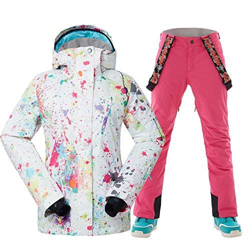 GSOU SNOW Womens Ski Suit Waterproof Windproof Snowboarding Jacket Womens Snowsuit Colorful Printed Ski Jackets Pants Set