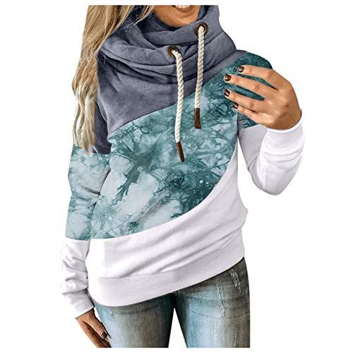Women Sweatshirt Color Block Tie-Dye Hoodie Turtleneck Drawstring Pullover Casual Comfy Loose Tops Green