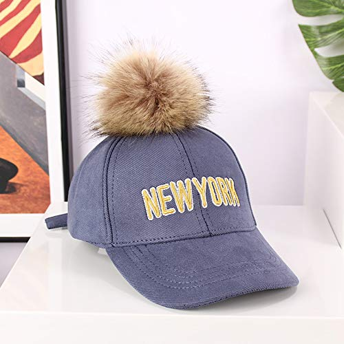 wtnhz Artículos de Moda Sombreros para niños otoño e Invierno Nuevas Letras Bordadas Europeas y Americanas Gorras de béisbol con Copos de Nieve Gorras de Piel para niñosRegalo de Vacaciones