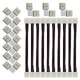 CESFONJER 10mm led Conectores, 10 PCS Cable de Extensión Adaptador, 10 PCS 4 Pin L-Format Conectores, para 5050 Monocolor y Tira RGB 10mm Ancho.