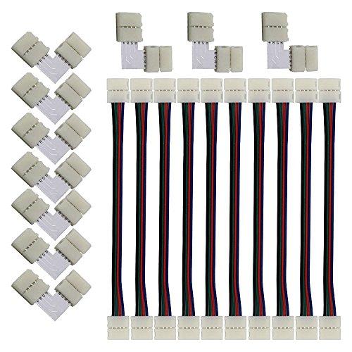 Preisvergleich Produktbild LED Strip Verbinder,  (10+10 Stück) Für 10mm 4 Polig RGB 5050 LED Stripe Verbinder,  LED Streifen Flexibel Verbindungskabel,  Steckverbinder,  LED Strip Connector,  LED Strip Eckverbinder,  Schnellverbinder