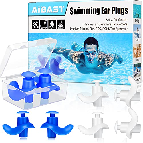 Swimming Ear Plugs, 2021 Upgraded 4 Pairs AiBast Professional Waterproof Reusable Silicone Earplugs for Swimming Showering Bathing Surfing and Snorkeling with Boxes, Suitable for Kids and Adult