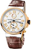 Ulysse Nardin Marine Cronometro Quadrante Argento Pelle Marrone Mens Watch 1185-122-41