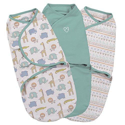 SwaddleMe ** 3er SparPack - Original Swaddle ** Pucksack/Schlafsack für unruhige Babys und Schreibabys (Small - Sketchy Safari)
