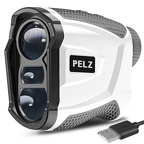 PELZ ゴルフ 距離計 【 データ記憶機能 充電式】 NK1000S 距離測定器 1093yd対応 光学6倍望遠 高低差測定モード 競技対応 20セットデータ記憶可能 IP54防水仕様 角度/高度/垂直高低差測定 超軽量 ケース 充電ケーブル付き 日本語