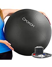 CPOKOH Yoga Exercise Ball, Anti Burst and Slip Resistant Yoga Swiss Ball for Body Ab Ball, Balance Workout Gym with Foot Pump