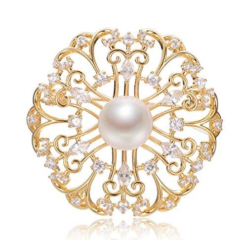 Epinki Dorado Broche de Mujer Retra Hueco Flores Broche de Perlas Broches Alfileres Novia Oro con Perla