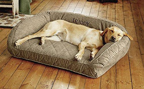 Orvis Memory Foam Bolster Dog Bed/Medium Dogs Up to 40-60 Lbs, Brown Tweed,