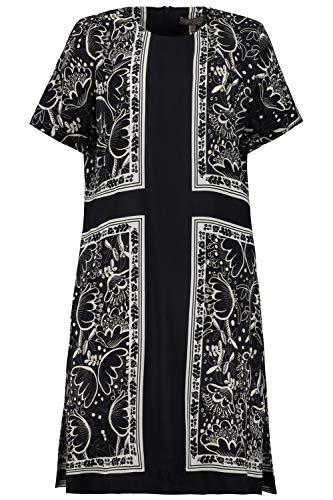 Ulla Popken Damen große Größen Kleid, Carree-Design, Halbarm, Selection mitternachtsblau 42 747660 70-42