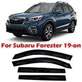 olltoz Smoke Tinted Tape-On Side Window Visor Deflectors Rain Guards Compatible with Subaru Forester SK 2019 2020 2021 Premium Sport Limited Touring