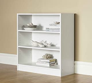 Mainstay.. 3-Shelf Bookcase - Wide Bookshelf Storage Wood Furniture, 1 Fixed Shelf 2 Adjustable Shelves Bookcase (White)