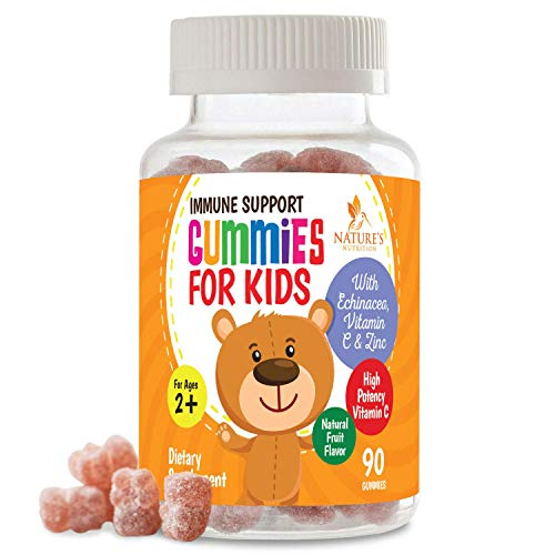 Kids Immune Support Gummies with C, Echinacea and Zinc - Children's Support Vitamin Gummy, Tasty Natural Fruit Flavor, Vegan by Nature's Nutrition - 90 Gummy Bears
