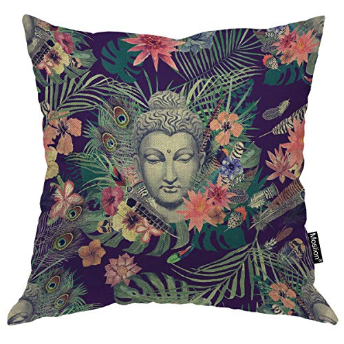 Moslion Buddha Pillow Flowers Peacock Feathers Buddha Decorative Throw Pillow Cover Square Cushion Cover Standard Pillow Cases for Mens Women Girls Boys Kid Sofa Bedroom Livingroom 18'x18',Multi