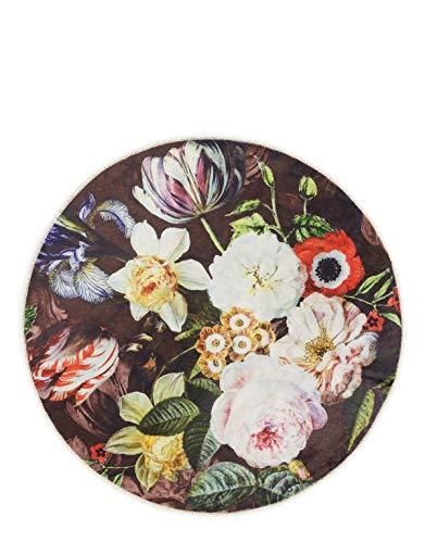 ESSENZA Teppich Klein Giselle Blumen Pfingstrosen Tulpen Polyester Mischung Chocolate, rund Ø90 cm