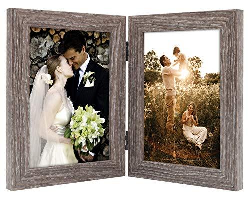 Golden State Art Dekorativer Bilderrahmen mit Klapptisch und 2 vertikalen Öffnungen aus Echtglas 5x7 grau