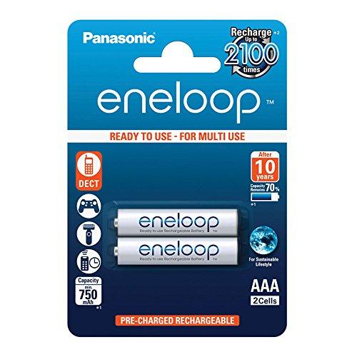 Panasonic eneloop, Ready-to-Use Ni-MH Akku, AAA Micro, 2er Pack, min. 750 mAh, 2100 Ladezyklen, starke Leistung und geringe Selbstentladung, wiederaufladbare Akku Batterie