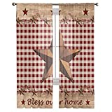 Semi Sheer Window Curtain for Living Room Bedroom,Rustic Barn Western Star on Buffalo Plaid Red White Voile Rod Pocket Drapes 84 Inches Long,Window Treatment Panels for Patio Door Set of 2