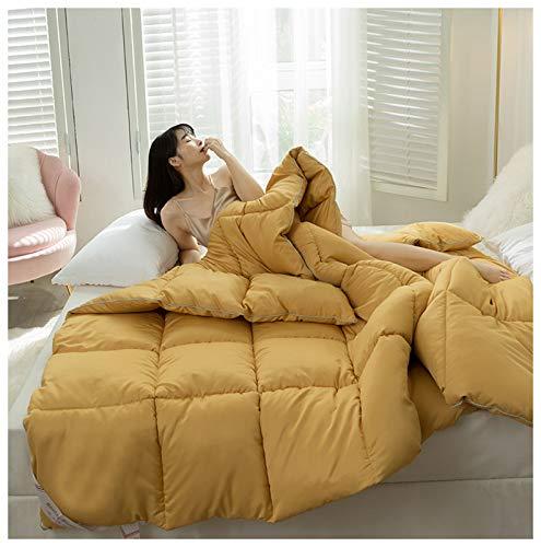 YRRA Daunendecke aus Baumwolle, für den Winter, leicht, flauschig, Milch, warm, weich, für den Winter, Gelb, 200 x 230 cm (4 kg)