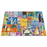 Placemats, Woven Vinyl Non-Slip Insulation Anime Pikachu Pet Baby Cartoons Animal Poster Place mat, Washable Heat-Resistant Stain Resistant Anti-Skid PVC Table Mats for Kitchen Dining Table, Set of 4