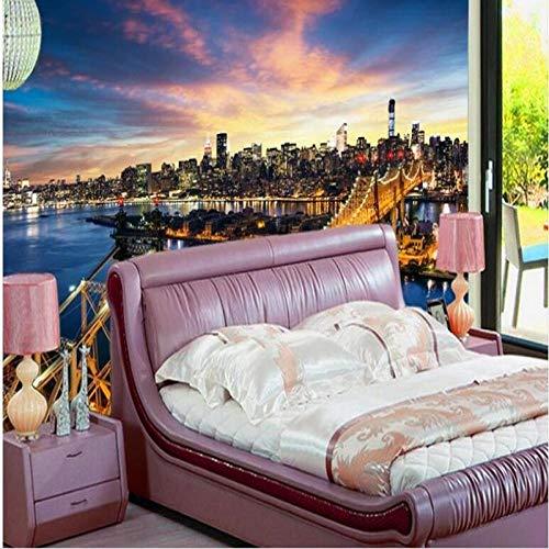3D Big Wallpaper Fotobehang Luxe Non-Woven Muurdecoratie Groot - Schaal Muren van de Verenigde Staten New York City Bridge Architecturale Fotografie Niet - Geweven 250 * 175cm Fo1886