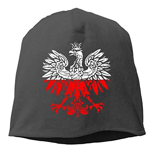 NA Polnische Flagge, weißer Adler, Used-Look, Wintermütze mit Totenkopf-Mütze, warm, gestrickt, strapazierfähig