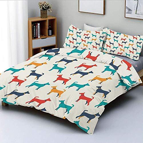 Juego de funda nórdica, ilustración colorida contemporánea de figuras de perros con contornos en estilo retro Juego de cama decorativo de 3 piezas con 2 fundas de almohada, gris azulado rojo, el mejor