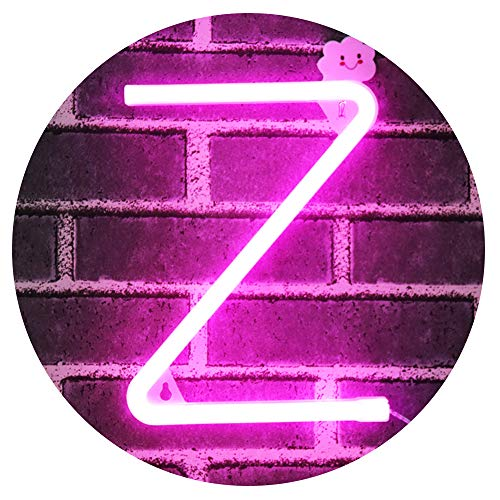 LED Neon Letter Light, USB Batteries Operated Marquee Letter Sign for Night Light Bright Lamp Words for Home, Hotel, Indoor Wall Decor-Pink Letter Z