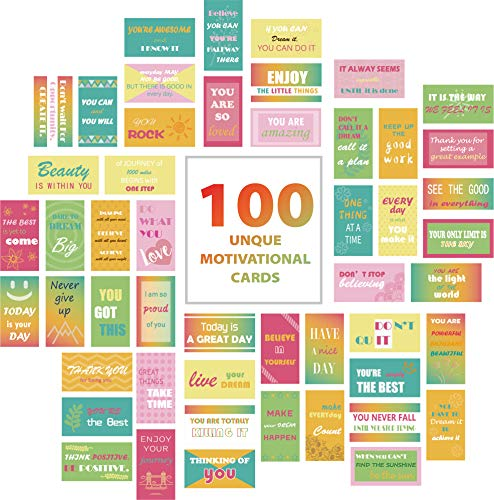100 Pcs Motivational Quote Cards/Kindness Cards- Inspirational Notes for Lunchbox/ Notebook/Backpack/Planner- Encouragement Cards - Business Card Size (50 Designs Positive Affirmations Notes)