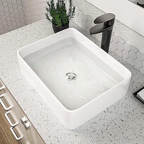 """Vessel Sink Rectangular, Dcolora 19""""x15"""" White Vessel Sink Ceramic Porcelain Rectangle Bathroom Vessel Sink Above Counter Vanity Sink Basin"""