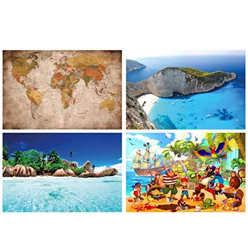 GREAT ART® Juego de 4 Carteles con Motivos Infantiles   DIN A2-42 x 59,4   Piratas e Islas   Mapa del Mundo Retro Zakynthos Beach Playa Mar   Cuadros para niños decoración póster