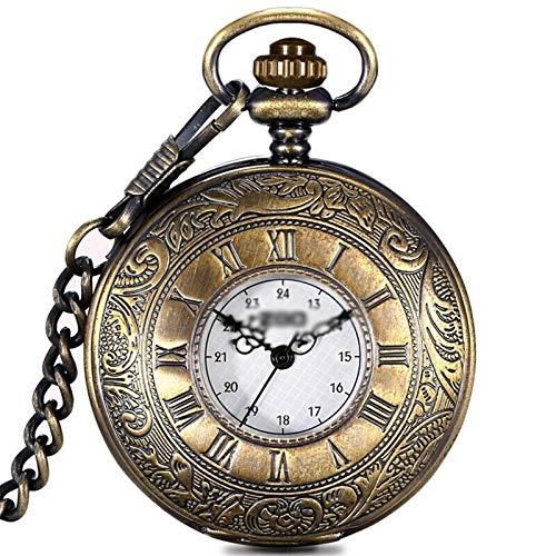 ZPEE Reloj de Bolsillo Digital Reloj de Bolsillo de impresión en Color Bronce de época Romana comerciales Seguir Collar Reloj Reloj de Cuarzo Reloj de Bolsillo Vintage